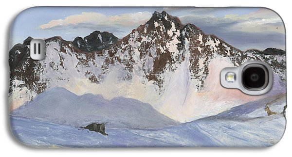 Snow Scene Landscape Paintings Galaxy S4 Cases - Alamoots Winter Mountains Galaxy S4 Case by Cecilia  Brendel