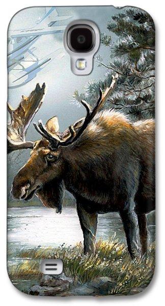 Alaska Moose With Floatplane Galaxy S4 Case by Regina Femrite