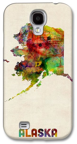 Cartography Digital Art Galaxy S4 Cases - Alaska Watercolor Map Galaxy S4 Case by Michael Tompsett