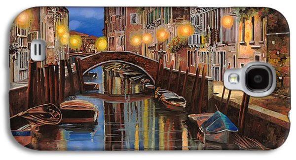 Docked Boat Galaxy S4 Cases - alba a Venezia  Galaxy S4 Case by Guido Borelli