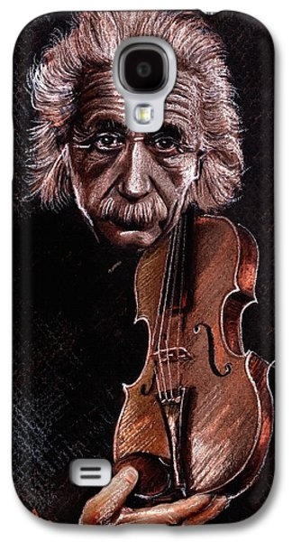 Einstein Drawings Galaxy S4 Cases - Albert Einstein and Violin Galaxy S4 Case by Daliana Pacuraru