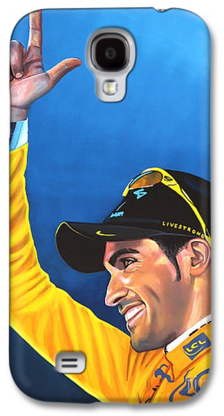 Road Paintings Galaxy S4 Cases - Alberto Contador Galaxy S4 Case by Paul  Meijering