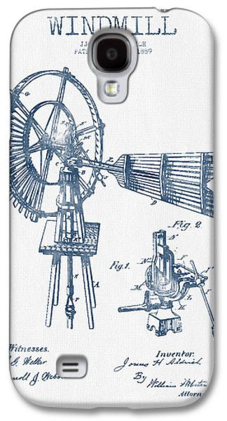Windmill Galaxy S4 Cases - Aldrich Windmill Patent Drawing From 1889 - Blue Ink Galaxy S4 Case by Aged Pixel