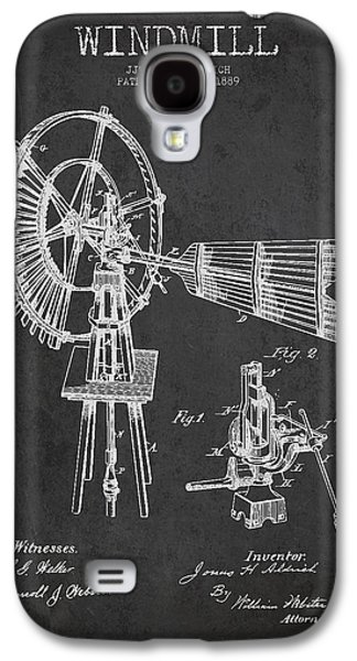 Windmill Galaxy S4 Cases - Aldrich Windmill Patent Drawing From 1889 - Dark Galaxy S4 Case by Aged Pixel