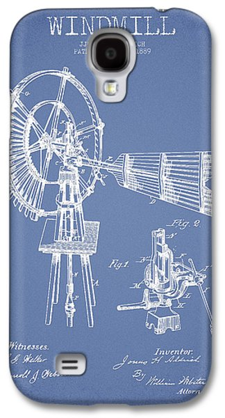 Windmill Galaxy S4 Cases - Aldrich Windmill Patent Drawing From 1889 - Light Blue Galaxy S4 Case by Aged Pixel