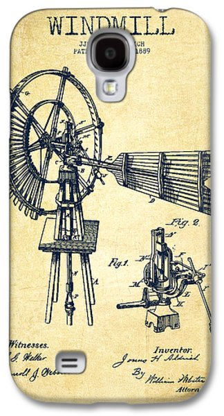 Windmill Galaxy S4 Cases - Aldrich Windmill Patent Drawing From 1889 - Vintage Galaxy S4 Case by Aged Pixel
