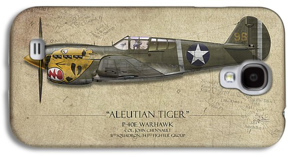P-40 Galaxy S4 Cases - Aleutian Tiger P-40 Warhawk - Map Background Galaxy S4 Case by Craig Tinder