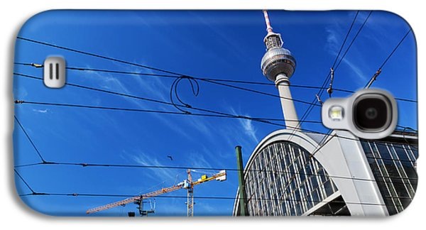 Bahn Galaxy S4 Cases - Alexanderplatz sign and Television tower Berlin Germany Galaxy S4 Case by Michal Bednarek