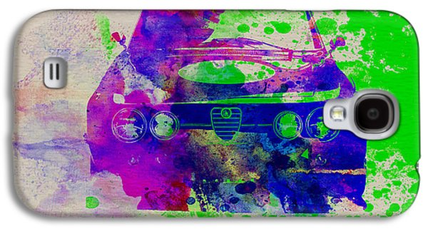 Old Car Drawings Galaxy S4 Cases - Alfa Romeo Front Watercolor 1 Galaxy S4 Case by Naxart Studio