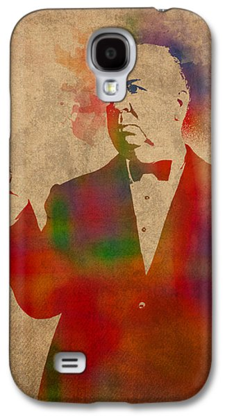 Parchment Galaxy S4 Cases - Alfred Hitchcock Watercolor Portrait on Worn Parchment Galaxy S4 Case by Design Turnpike