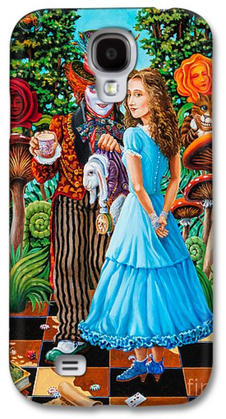 Mad Hatter Paintings Galaxy S4 Cases - Alice and Mad Hatter. Part 2 Galaxy S4 Case by Igor Postash