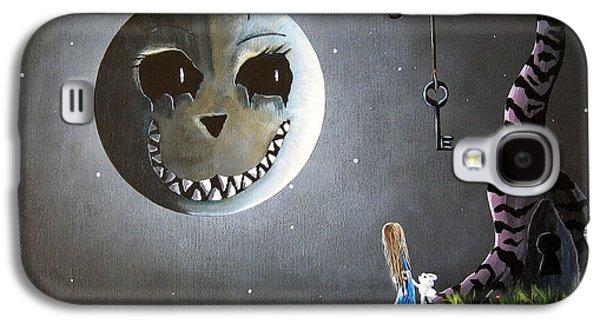 Alice In Wonderland Galaxy S4 Cases - Alice In Wonderland Original Artwork - Alice And The Cheshire Moon Galaxy S4 Case by Shawna Erback