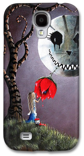 Creepy Galaxy S4 Cases - Alice In Wonderland Original Artwork - Alice And The Dripping Rose Galaxy S4 Case by Shawna Erback