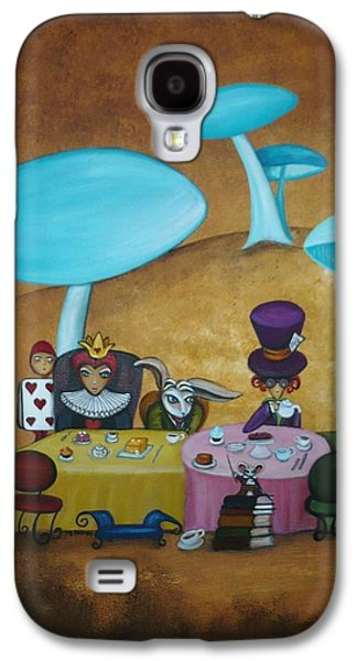 Mad Hatter Paintings Galaxy S4 Cases - Alice in Wonderland Art - Mad Hatters Tea Party I Galaxy S4 Case by Charlene Murray Zatloukal