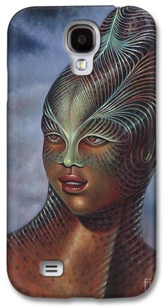Science Fiction Paintings Galaxy S4 Cases - Alien Portrait I Galaxy S4 Case by Ricardo Chavez-Mendez