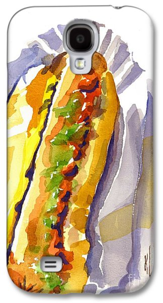 Baseball Stadiums Paintings Galaxy S4 Cases - All Beef Ballpark Hot Dog with the Works to Go in Broad Daylight Galaxy S4 Case by Kip DeVore