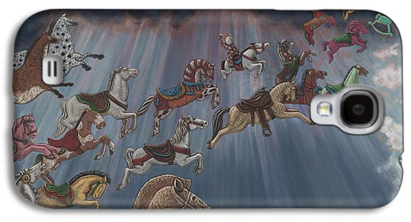 Carousel Horse Paintings Galaxy S4 Cases - All Good Horses go to Heaven Galaxy S4 Case by Holly Wood