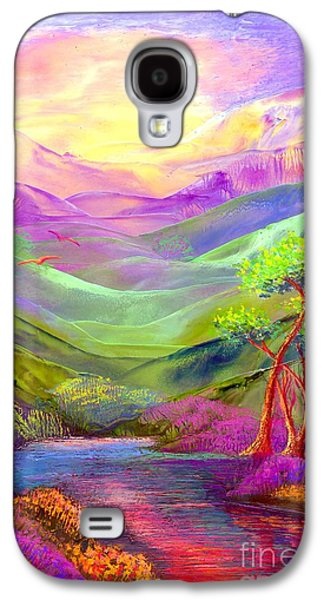 Purple Paintings Galaxy S4 Cases - All Things Bright and Beautiful Galaxy S4 Case by Jane Small