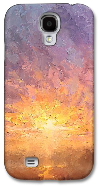Light Galaxy S4 Cases - All Things New Imressionistic Sunrise  Galaxy S4 Case by Karen Whitworth