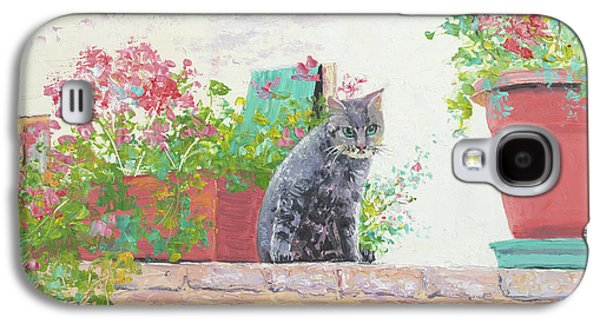Garden Scene Galaxy S4 Cases - Alley Cat Galaxy S4 Case by Jan Matson