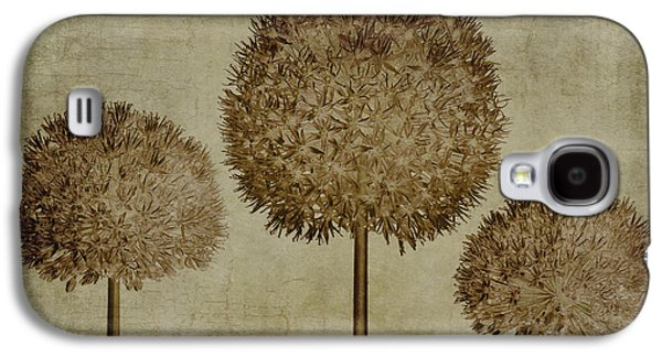 Botanical Digital Art Galaxy S4 Cases - Allium hollandicum sepia textures Galaxy S4 Case by John Edwards