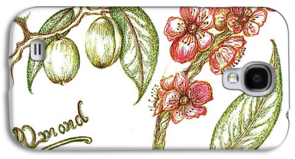 Shed Drawings Galaxy S4 Cases - Almond with flowers Galaxy S4 Case by Teresa White