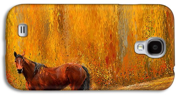 Farming Paintings Galaxy S4 Cases - Alone In Grandeur- Bay Horse Paintings Galaxy S4 Case by Lourry Legarde