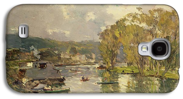 Charles River Paintings Galaxy S4 Cases - Along the Seine at Meudon Galaxy S4 Case by Albert Charles Lebourg
