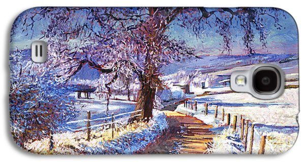 Snow Scene Landscape Paintings Galaxy S4 Cases - Along The Snow Lined Road Galaxy S4 Case by David Lloyd Glover