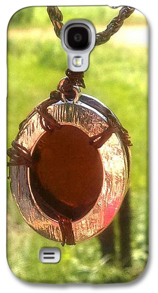 Fantasy Jewelry Galaxy S4 Cases - Amber Glass Pendant in Silver and Copper Galaxy S4 Case by Bethany Jordan