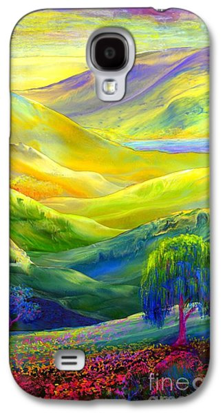 Field Paintings Galaxy S4 Cases - Amber Skies Galaxy S4 Case by Jane Small