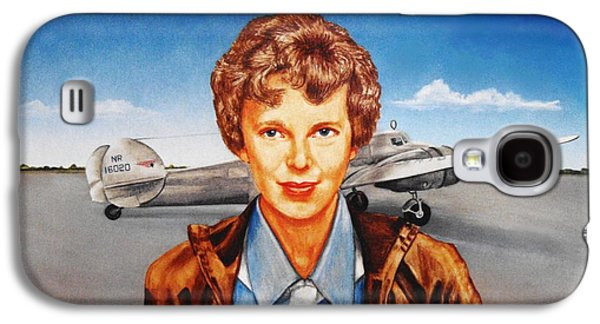 Aviator Drawings Galaxy S4 Cases - Amelia Earhart Galaxy S4 Case by Todd Spaur
