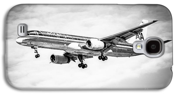 Amercian Airlines 757 Airplane In Black And White Galaxy S4 Case by Paul Velgos