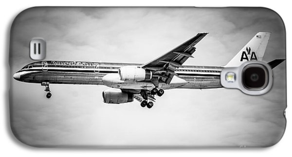 Airliner Galaxy S4 Cases - Amercian Airlines Airplane in Black and White Galaxy S4 Case by Paul Velgos