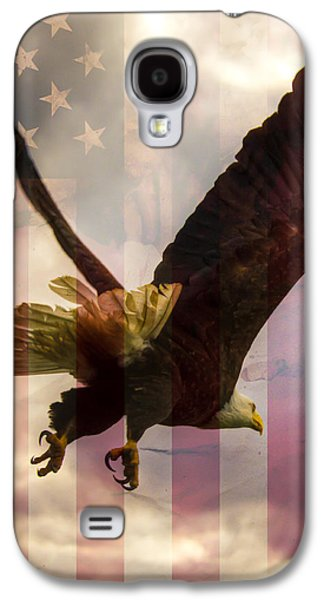 4th July Galaxy S4 Cases - American Bald Eagle In Flight wtih Flag Galaxy S4 Case by Natasha Bishop