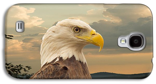 Preditor Galaxy S4 Cases - American Bald Eagle with Peircing Eyes Galaxy S4 Case by Douglas Barnett