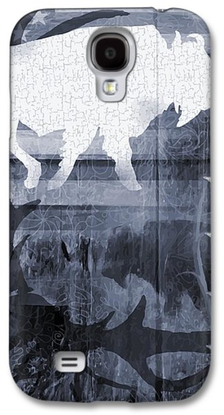 Bison Digital Galaxy S4 Cases - American Bison Collage in Blue Galaxy S4 Case by Sharon Marcella Marston