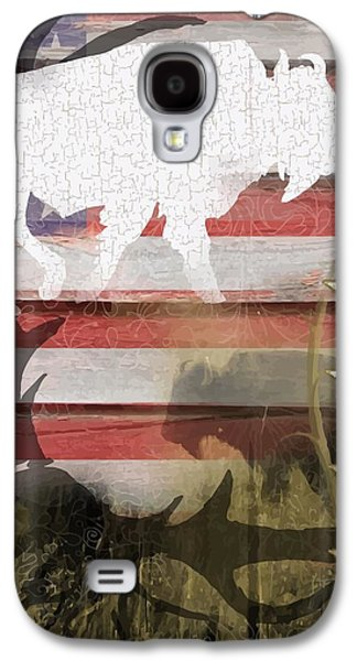 Bison Digital Galaxy S4 Cases - American Bison Collage Galaxy S4 Case by Sharon Marcella Marston