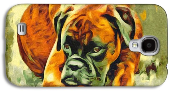 Boxer Digital Art Galaxy S4 Cases - American boxer Portrait Galaxy S4 Case by Scott Wallace