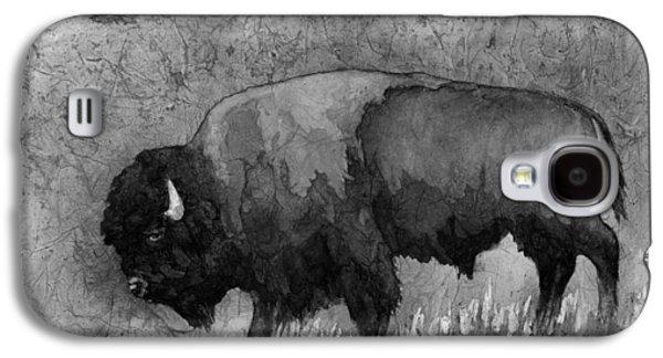 Bison Galaxy S4 Cases - Monochrome American Buffalo 3  Galaxy S4 Case by Hailey E Herrera