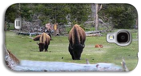 Bison Digital Art Galaxy S4 Cases - American Buffalo Herd Grazing Panorama Galaxy S4 Case by Thomas Woolworth