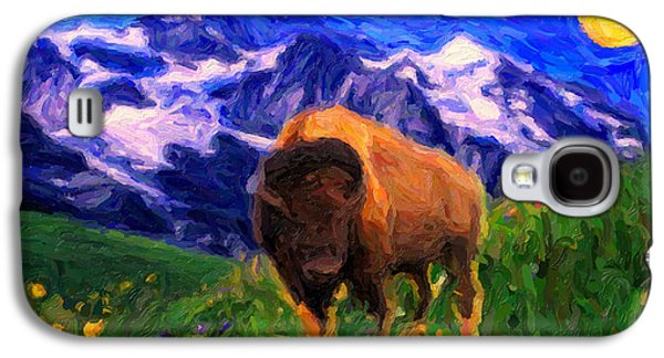 Bison Drawings Galaxy S4 Cases - American Buffalo in the Wild West Galaxy S4 Case by Celestial Images