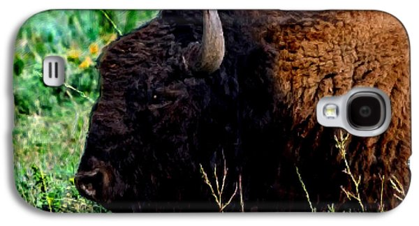 Bison Digital Art Galaxy S4 Cases - American Buffalo Yellowstone Painting Galaxy S4 Case by  Bob and Nadine Johnston