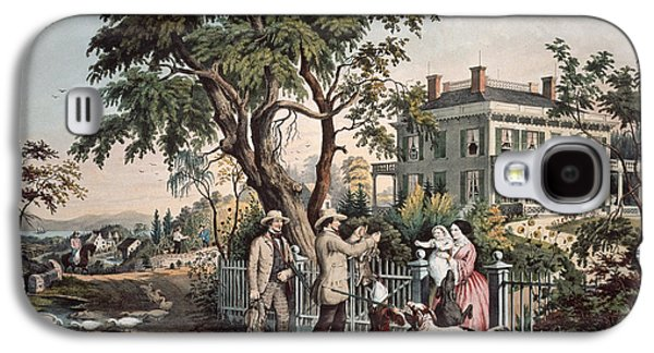 American Country Life  October Afternoon, 1855  Galaxy S4 Case by Currier and Ives