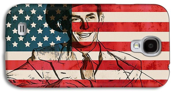 Stars And Stripes Mixed Media Galaxy S4 Cases - American Country Singer Hank Williams Galaxy S4 Case by Dan Sproul