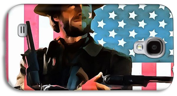 Red White And Blue Mixed Media Galaxy S4 Cases - American Cowboy Clint Eastwood Galaxy S4 Case by Dan Sproul