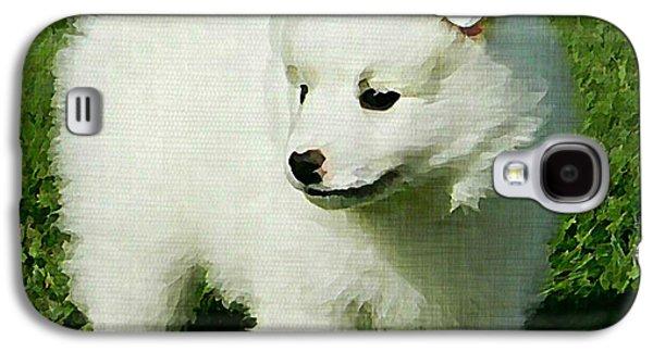 Puppy Digital Art Galaxy S4 Cases - American Eskimo Puppy Galaxy S4 Case by Linda Zielinski