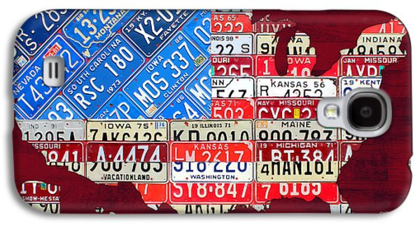 American Flag Mixed Media Galaxy S4 Cases - American Flag Map of the United States in Vintage License Plates Galaxy S4 Case by Design Turnpike