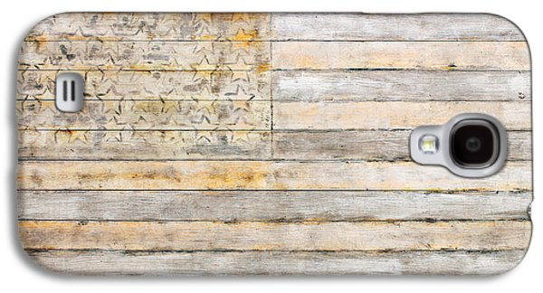 American Flag Mixed Media Galaxy S4 Cases - American Flag on Distressed Wood Beams White Yellow Gray and Brown Flag Galaxy S4 Case by Design Turnpike