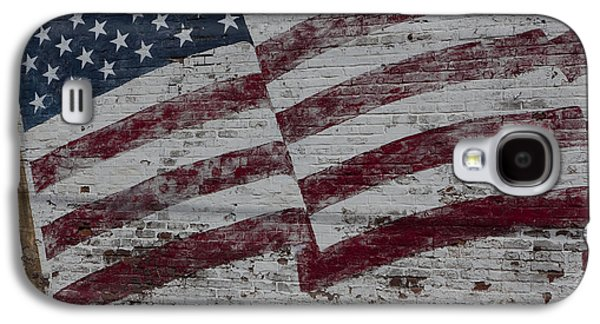 Built Structure Galaxy S4 Cases - American flag painted on brick wall Galaxy S4 Case by Keith Kapple